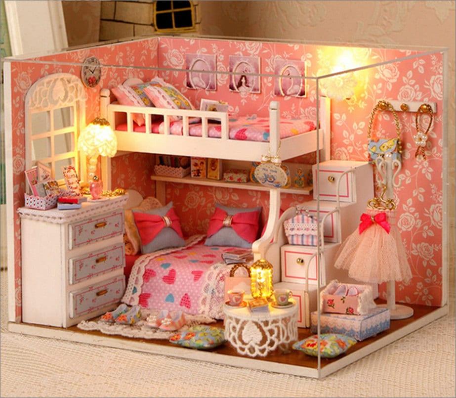 Wooden Dollhouse Miniatures 1:12 Furniture Kit Set For