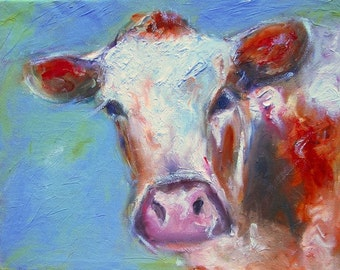 Bovine  cow paintings, signed and numbered large art prints of cattle   commission a painting to your budget-www.pixi-art.com/custom.html