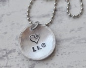 Initial necklace - Hand stamped name necklace - Mothers jewelry - Gift for her - Monogram necklace