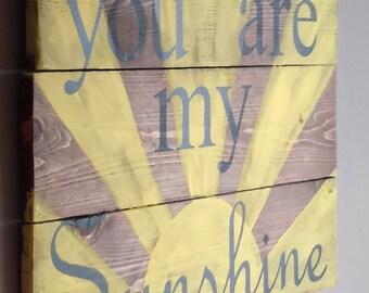 You are my sunshine reclaimed wood sign, nursery decor, farmhouse decor, rustic decor, pallet wood sign