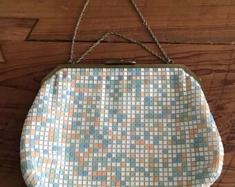 Double Down - 1970s White Mint Orange Yellow and Blue Pastel -Mesh Reversible Handbag