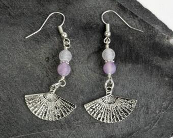 Handmade Purple Agate Earrings - Weathered Texture - Matte Finish Beads - Fan Charm Dangle Earrings - Silver Plated Earwires