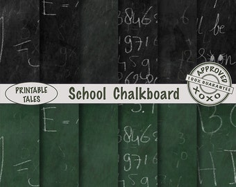 School Chalkboard Digital Papers Black Green Background Randomly wiped, written Pi, Energy Formula, Alphabet Scrapbook Pages Commercial Use
