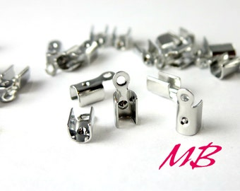 144 pcs Dark Silver End Crimp Connector, Tiny Cord Tips, Fold Over Flat Crimp Connector, Ribbon Conectors 4.5mm