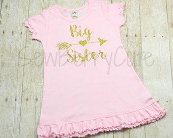 Big Sister Shirt Big Sister Dress/Tunic Top Pregnancy Announcement Baby Shower Gift