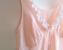 Peach cotton vintage nightgown - pink shabby chic nightdress - rustic wedding long slip - coral retro lingerie