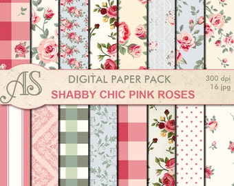 Digital Shabby Chic Pink Roses Paper Pack, 16 printable Digital Scrapbooking papers, retro roses Digital Collage, Instant Download, set 188
