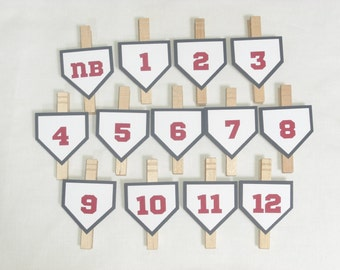 Baseball First Birthday Photo Clips - 1st Birthday Party - Baseball Theme - Newborn to 12 Months Photo Clips - First Year Photo Clips