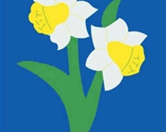 Daffodils Handcrafted Applique Garden Flag