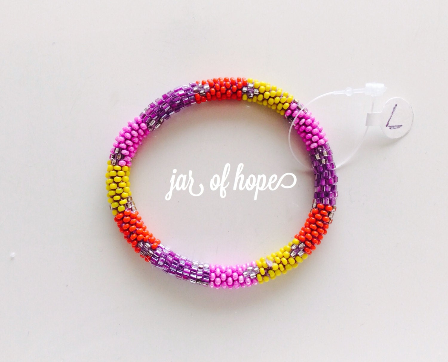 nepal beaded roll on bracelet large size gift by jarofhope