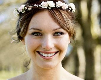 Blush Pink Flower Crown, Ivory and Pale Pink Rose Pearl Pip Berry Floral Crown, Wedding Floral Crown, Bridal Headdress, Rustic Crown
