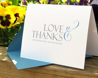 Customizable Newlywed Thank You Card Wedding Bridal Card Set