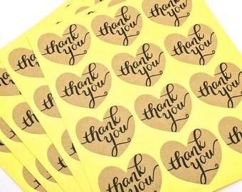 24 Heart Shaped Kraft Stickers -  Thank You