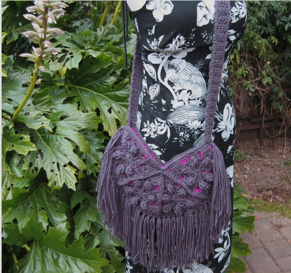 Grey crochet fringed purse, festival bag, boho crochet purse, grey ...