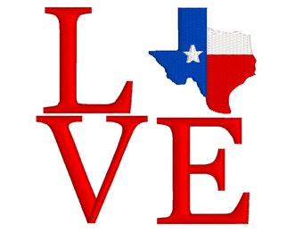 BUY 2, GET 1 FREE - Filled Texas Flag Love Machine Embroidery Design in 3 Sizes - 4x4, 5x5 and 6x6