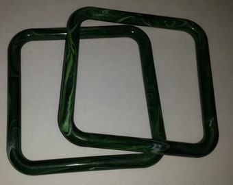 Pair of Small Green Faux Marble Purse Handles - New