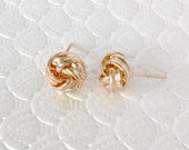 Rose Gold Love Knot Stud Earrings Jewelry. Tie the knot Earrings, Bridesmaids Gift