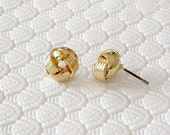 Gold Fill Love Knot Textured Stud Earrings Jewelry. Tie the knot Earrings, Bridesmaids Gift