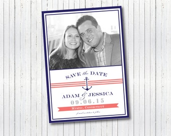 Nautical Beachy Boaty Photo Save the Date invitation - Navy Blue and Coral Preppy coastal anchor and stripes announcement