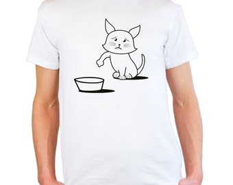 Mens & Womens T-Shirt with Cute Hungry Cat Design / Sad Kitty Shirts / Asking to Eat Kitten Shirt + Free Random Decal Gift