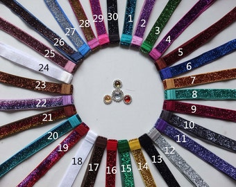 "5 PCS!! 30 colors for you choose, Interchangeable glitter elastic Headbands, 5/8"" sparkle Glitter Elastic Hair band,Size for Baby to Adult"