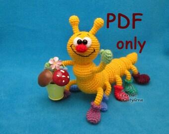 Caterpillar, crochet toy, amigurumi, PDF pattern