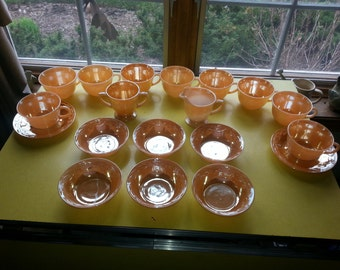 SALE!! Antique Set of 19 Pieces of Fire King Peach Lusterware Dishes AMAZING!