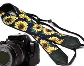 Yellow sunflowers on dark blue Camera strap by InTePro 00003