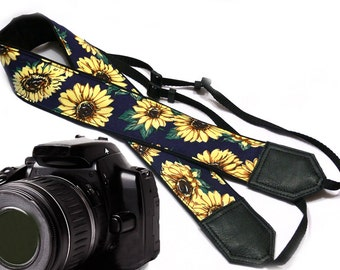 Sunflowers Camera strap.  DSLR Camera Strap. Camera accessories. Canon camera strap. Nikon camera strap.