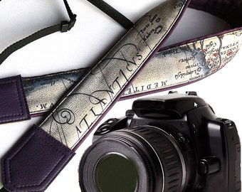 World Map Camera Strap. Vintage map. Old script camera strap. Dark purple DSLR / SLR Camera Strap. Photographer gift by InTePro