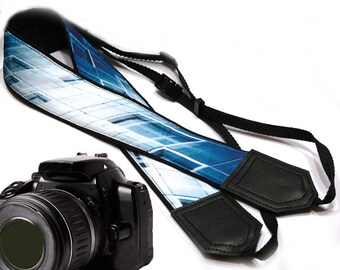 InTePro abstract design camera strap. Blue Camera strap.  SLR/ DSLR Camera Strap. Camera accessories. Photographer gift.