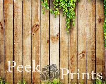 4ft.x4ft. Cedar Wood Fence with Greenery Vinyl Photography Backdrop