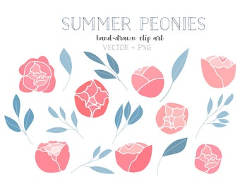 Peonies floral clipart, wedding floral clip art, flowers, foliage