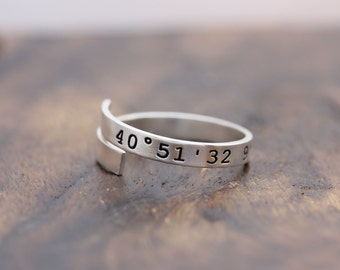 personalized coordinates 925 sterling silver adjustable ring, message ring, wedding gift,bridemaid gift,initial ring,holiday gift (PR_00016)