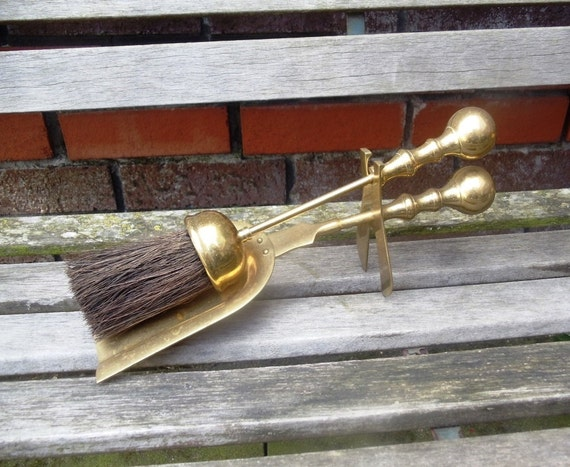 Vintage Brass Fireplace Tools Set