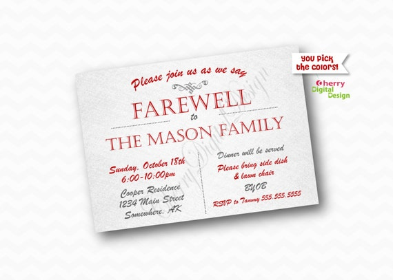 simple printable farewell party invitation. by cherrydigitaldesign, Party invitations