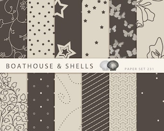 "12 CHOCOLATE & VANILLA TRUFFLES Digital Papers, Digital Scrapbook Paper Pack (12"" x 12"", 300 dpi, jpg) - Download - Printable - Set 231"