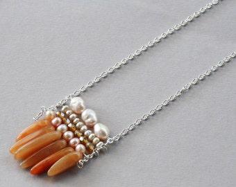 5 Row Aventurine Pearl Necklace, Orange Jewelry, Pearl Jewelry, Gemstone Jewelry, Modern Necklace, Birthstone Jewelry, Silver Jewelry, Boho