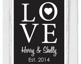 Custom Printable Couples Love Print - Monochrome Design