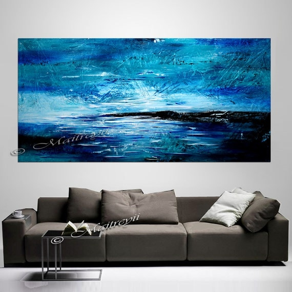 large wall art blue abstract painting acrylic wall decor abstract paintings landscape art. Black Bedroom Furniture Sets. Home Design Ideas