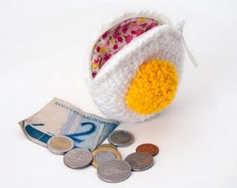 Crochet Fried Egg Coin Purse