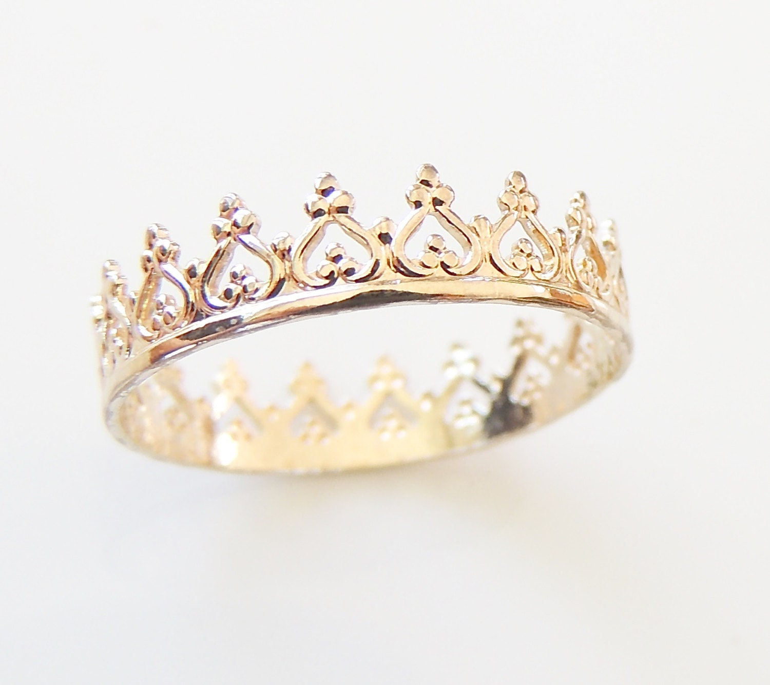 gold crown ring princess crown ring yellow gold ring by