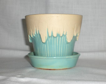 Vintage McCoy Turquoise and White Flower Pot Planter