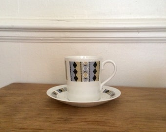 Royal Adderley Coffee Cup with Saucer in Pale Blue and Beige coloured Masquerade Pattern