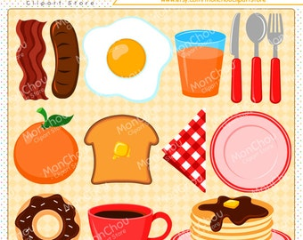 Breakfast Food Clipart Set - For Commercial and Personal Use