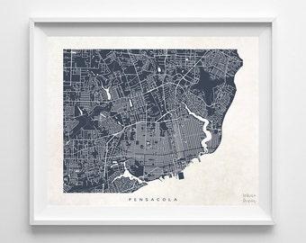 Pensacola Map, Florida Print, Pensacola Poster, Florida Art, Dorm Decor, Modern Art, Dorm Decorations, Dorm Wall Decor, Back To School