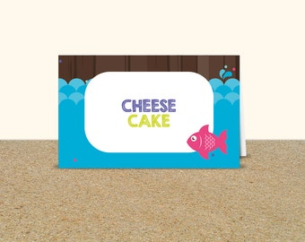 Personalized Fishing Party food label tent (digital file)