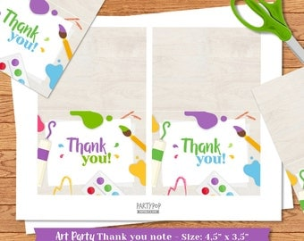 INSTANT DOWNLOAD Art PartyThank You Notes