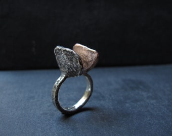 Handmade silver 925 and copper ring.