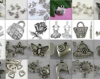 Charm Soup-choice of qt-tibetan antique silver-mixed charms
